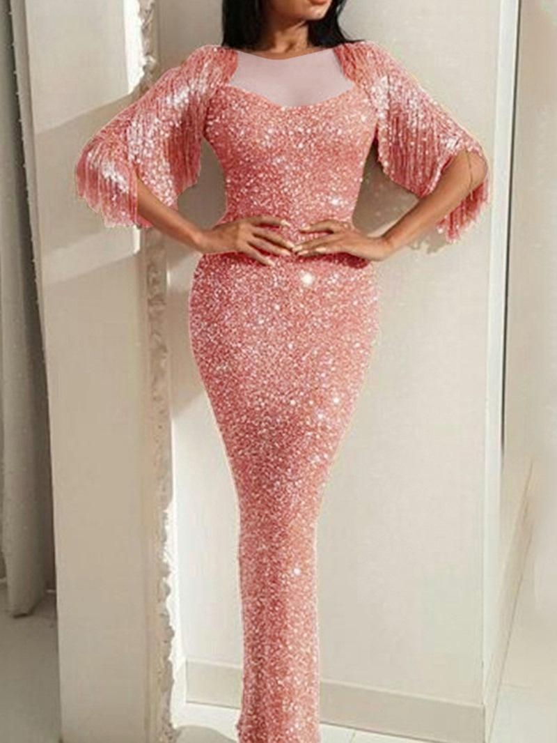 Ericdress Tassel Floor-Length Three-Quarter Sleeve Pencil Pullover Dress