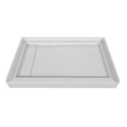 SBLDST-4832-L-WHT Single Threshold White Acrylic Left Hand Linear Drain  Shower Base