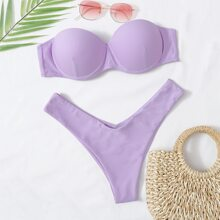 Push Up Bandeau Bikini Badeanzug mit hohem Ausschnitt