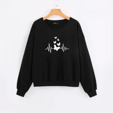 Sweatshirt mit sehr tief angesetzter Schulterpartie und Schmetterling Muster