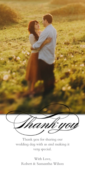 Thank You Cards 4x8 Flat Card Set, 85lb, Card & Stationery -Thank You Script Swirl Portrait 1ph