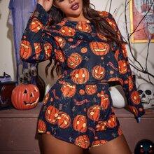 Conjunto de pijama con estampado de calabaza de Halloween