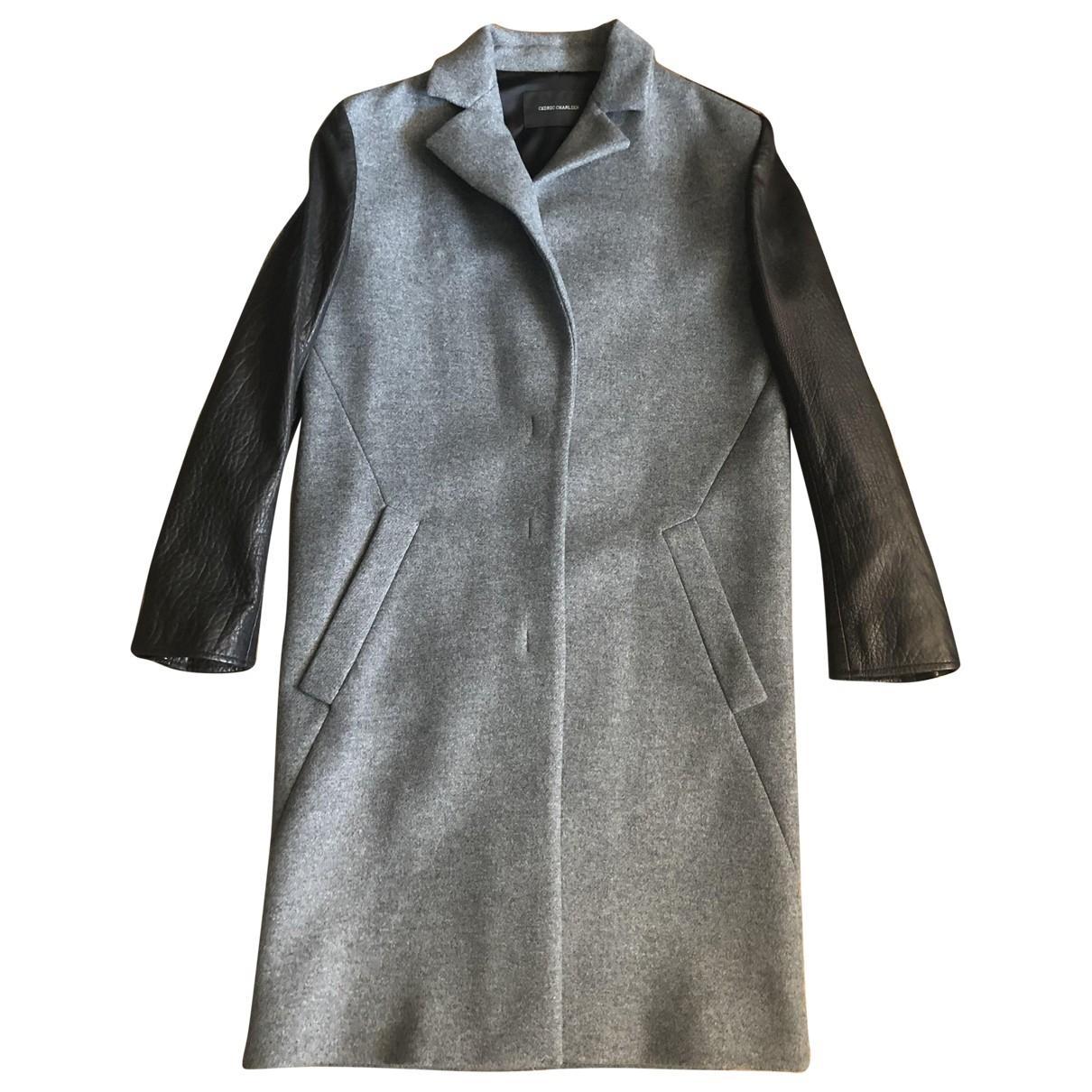 Cedric Charlier \N Maentel in  Grau Wolle