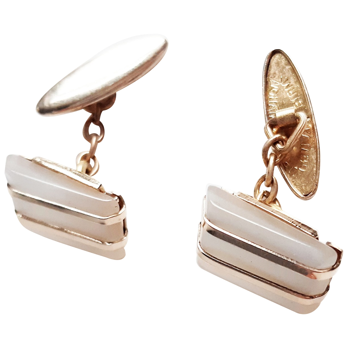 Non Signé / Unsigned \N White Gold plated Cufflinks for Men \N