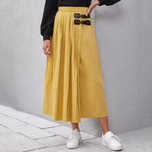 Zip Back Buckle Contrast Pleated Skirt