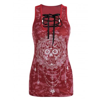 Sugar Skull Print Lace-up Tank Top
