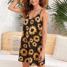 Cami Kleid mit V Kragen und Sonnenblumen Muster