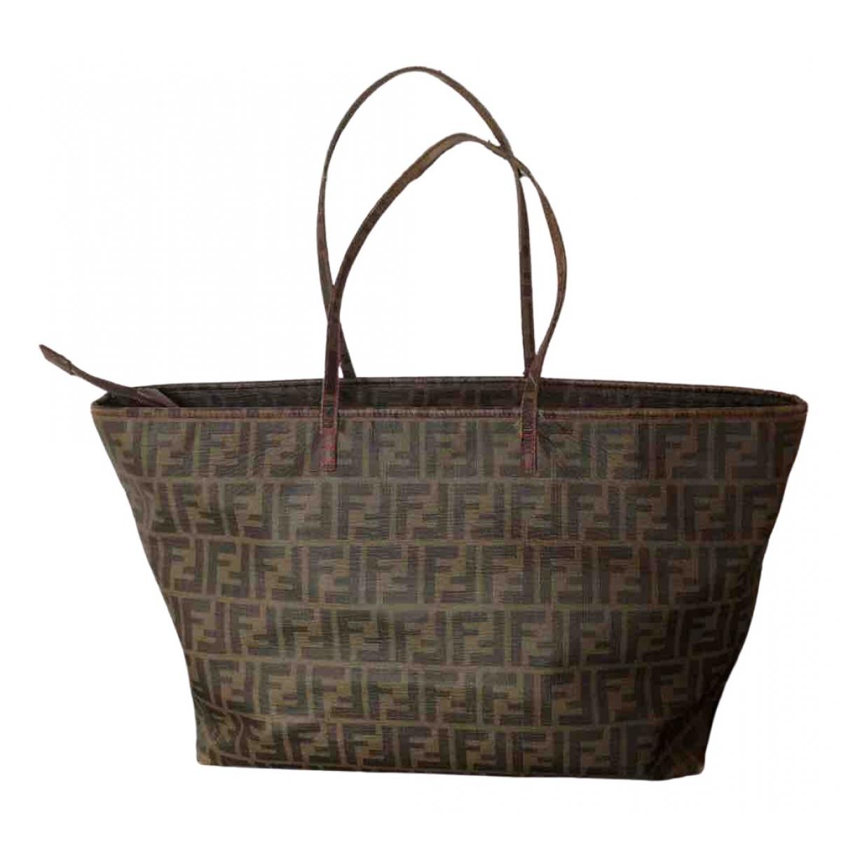 Fendi Roll Bag  Handtasche in  Braun Leinen
