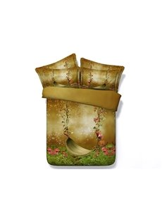 3D Silent Swing and Butterfly Printed 5-Piece Comforter Sets