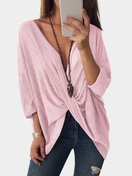 Yoins Pink Crossed Front Design V-neck Bat Sleeves Blouses