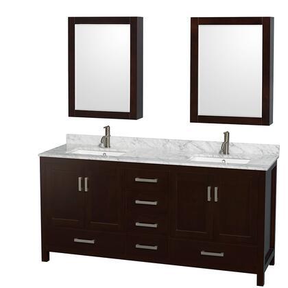 WCS141472DESCMUNSMED 72 in. Double Bathroom Vanity in Espresso  White Carrera Marble Countertop  Undermount Square Sinks  and Medicine