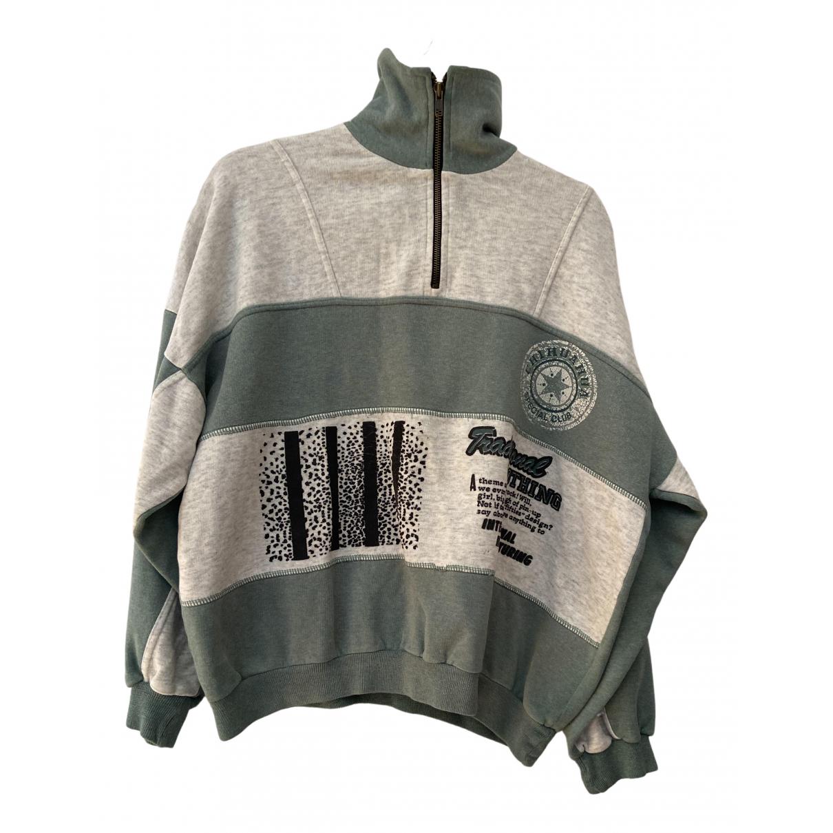 Non Signé / Unsigned Oversize Green Cotton Knitwear & Sweatshirts for Men XL International