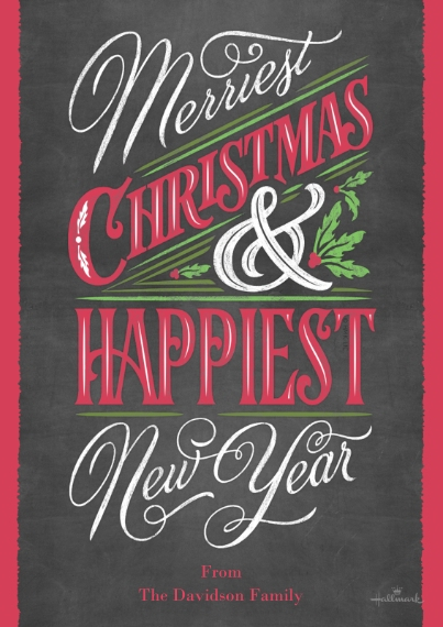 Christmas Photo Cards 5x7 Cards, Premium Cardstock 120lb with Scalloped Corners, Card & Stationery -Merriest & Happiest Chalkboard