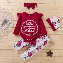 Outfits dos piezas para niña pequeña Boton Floral Casual