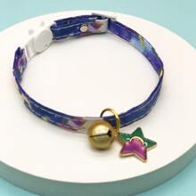 1pc Star & Bell Charm Cat Collar