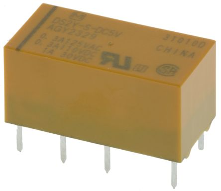 Panasonic , 5V dc Coil Non-Latching Relay DPDT, 2A Switching Current PCB Mount