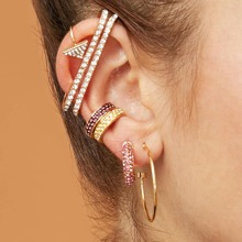 11pcs Strass gravierte geometrische Ohrringe