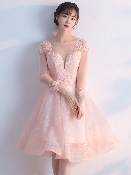 Milanoo Soft Pink Prom Dresses 2020 Short Homecoming Dress Lace  Illusion Long Sleeve Knee Length Party Dress