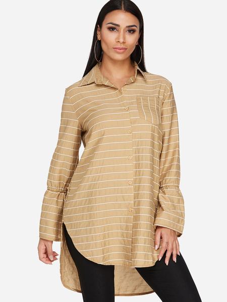 Yoins Khaki Stripe Bell Sleeves New Long Shirt