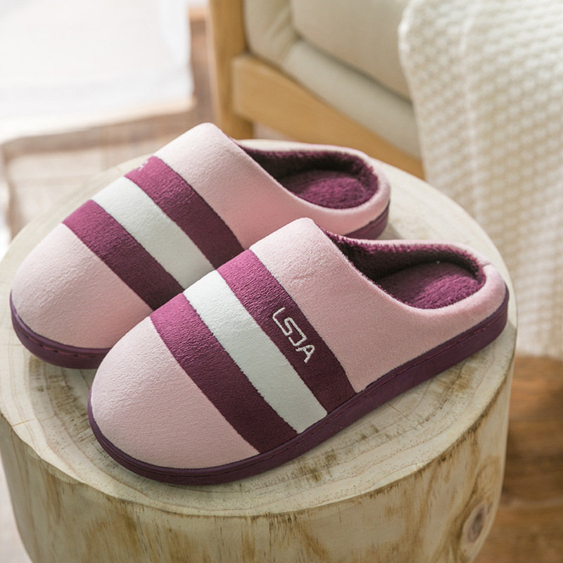 Warm Indoor Stripe Casual Flat Backless Home Slippers