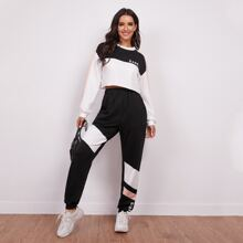 Letter Graphic Colorblock Crop Pullover & Sweatpants Set