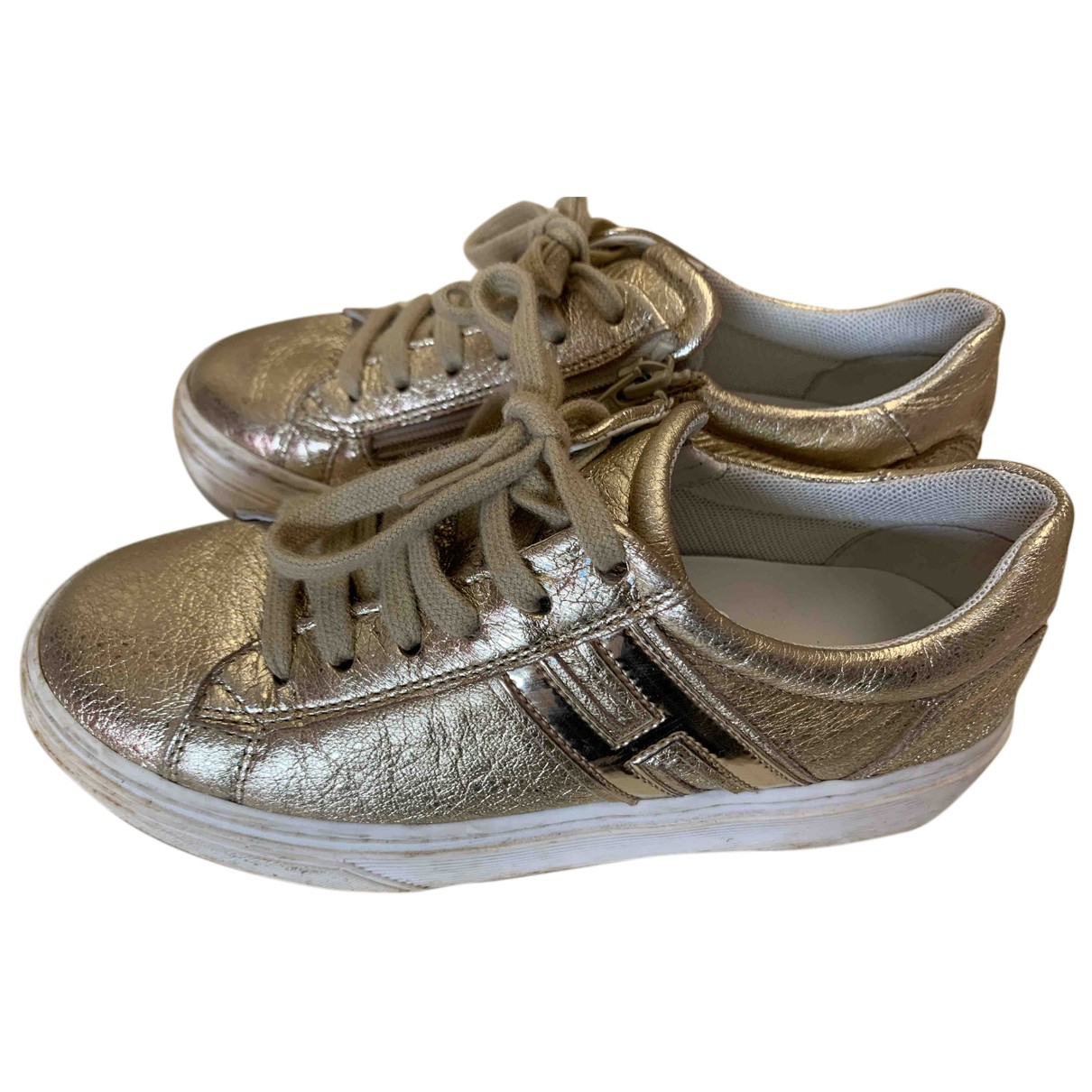 Hogan N Gold Leather Trainers for Kids 31 FR