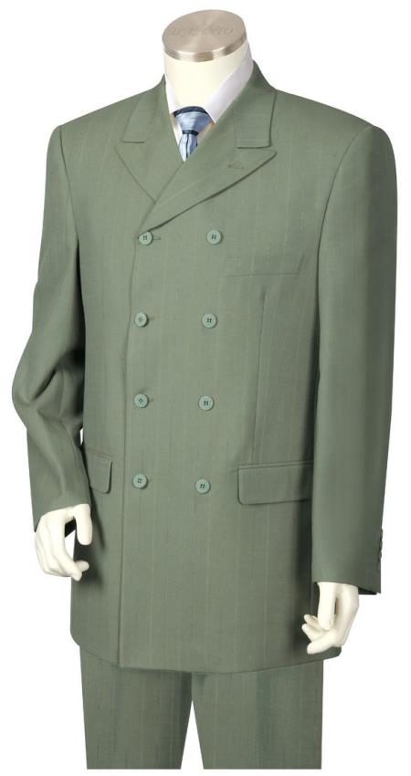 Mens Button Fastener Victorian Double Breasted Sage Zoot Suit