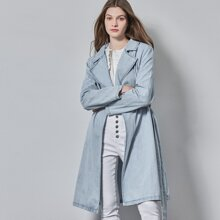 DENIM LIGHT WASH BELTED COAT