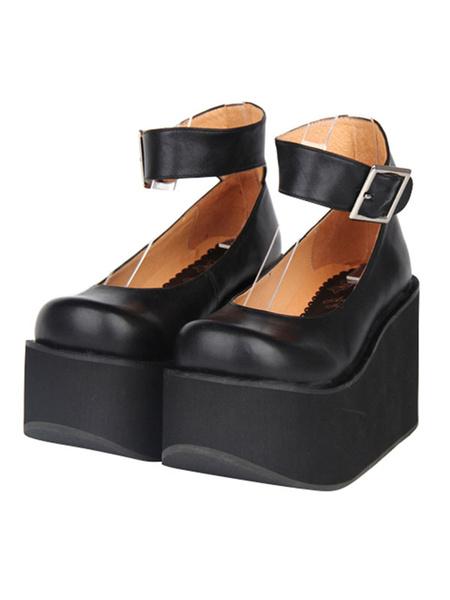 Milanoo Classic Lolita Shoes Ankle Strap Buckle Square Toe Platform Black Lolita Flatform