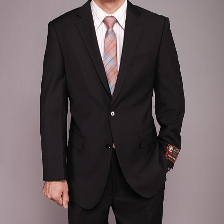 2 Button Black Textured Suit Mens Cheap