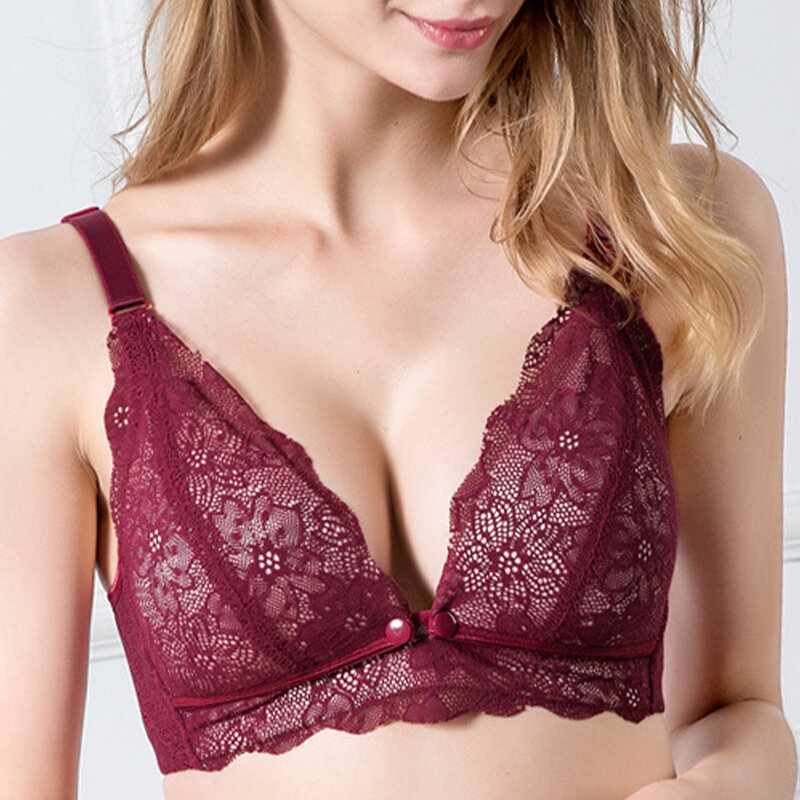 Sexy Lace Nursing Bra Anti Sagging Maternity Wireless Bra