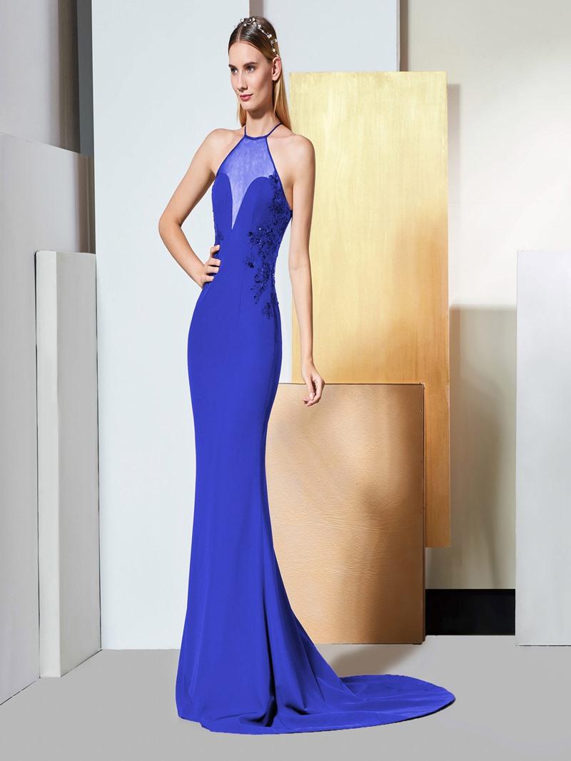 Ericdress Halter Sequin Applique Black Mermaid Evening Dress
