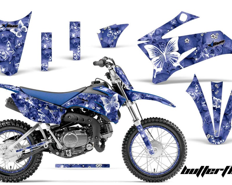 AMR Racing Graphics MX-NP-YAM-TTR110-08-18-BF W U Kit Decal Sticker Wrap + # Plates For Yamaha TTR110 2008-2018áBUTTERFLIES WHITE BLUE