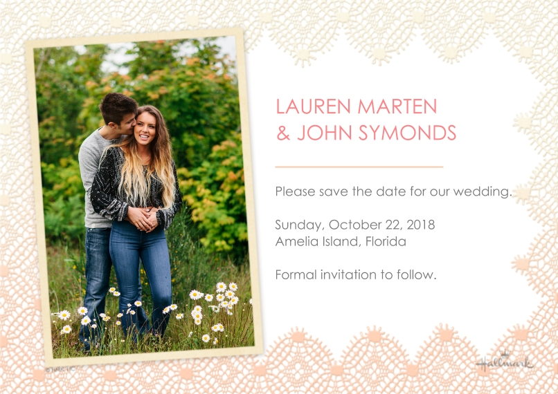 Save the Date Flat Glossy Photo Paper Cards with Envelopes, 5x7, Card & Stationery -Lacey Border