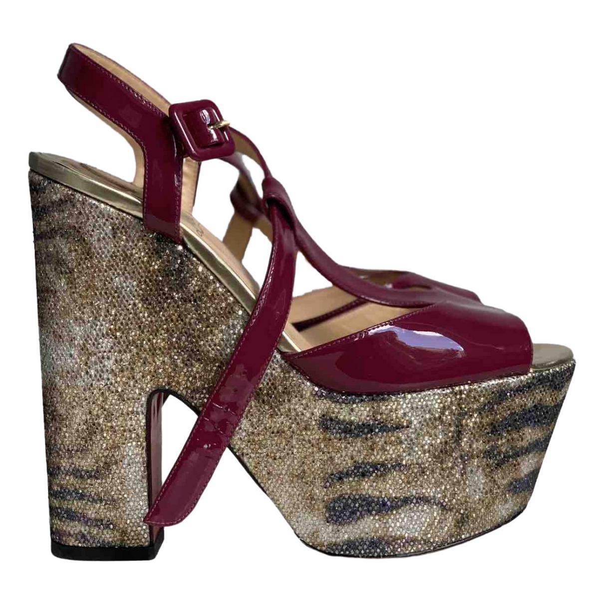 Christian Louboutin \N Burgundy Leather Sandals for Women 39.5 EU