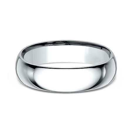 Mens 10K White Gold 6MM Comfort-Fit Wedding Band, 14 1/2 , No Color Family