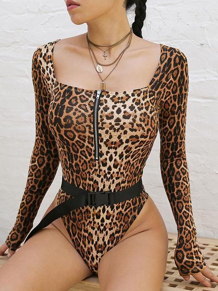 Milanoo Long Sleeves Bodysuit Leopard U-Neck Casual Polyester Leopard Print Top For Women