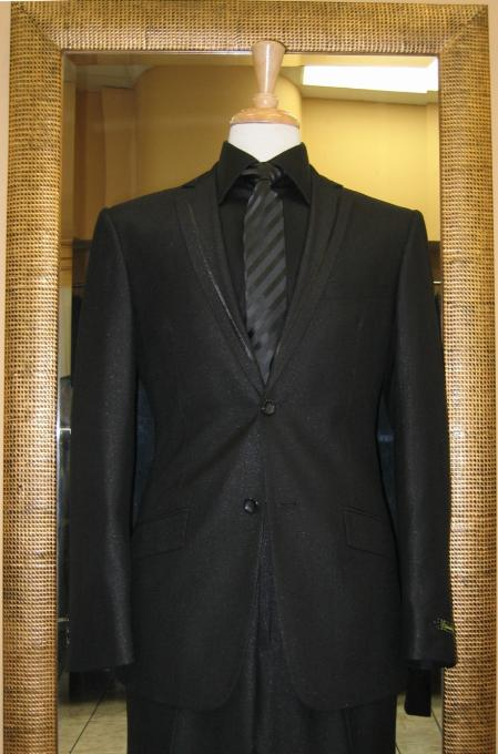 2 Button Black Slim Fit Suit with Taping on the Lapels