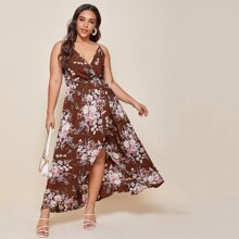 Plus Floral Print Wrap Cami Dress