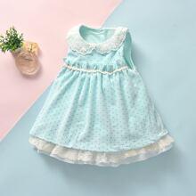 Baby Girl Polka Dot Lace Panel Bow Back Velvet Dress