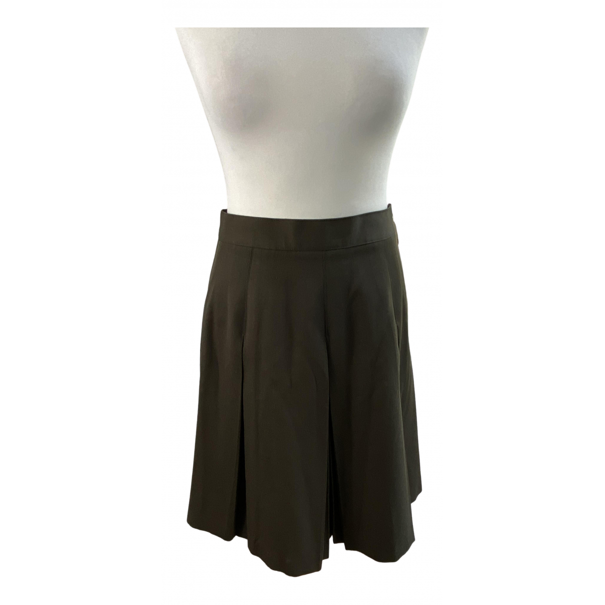 Non Signé / Unsigned Hippie Chic Khaki Wool skirt for Women 38 FR