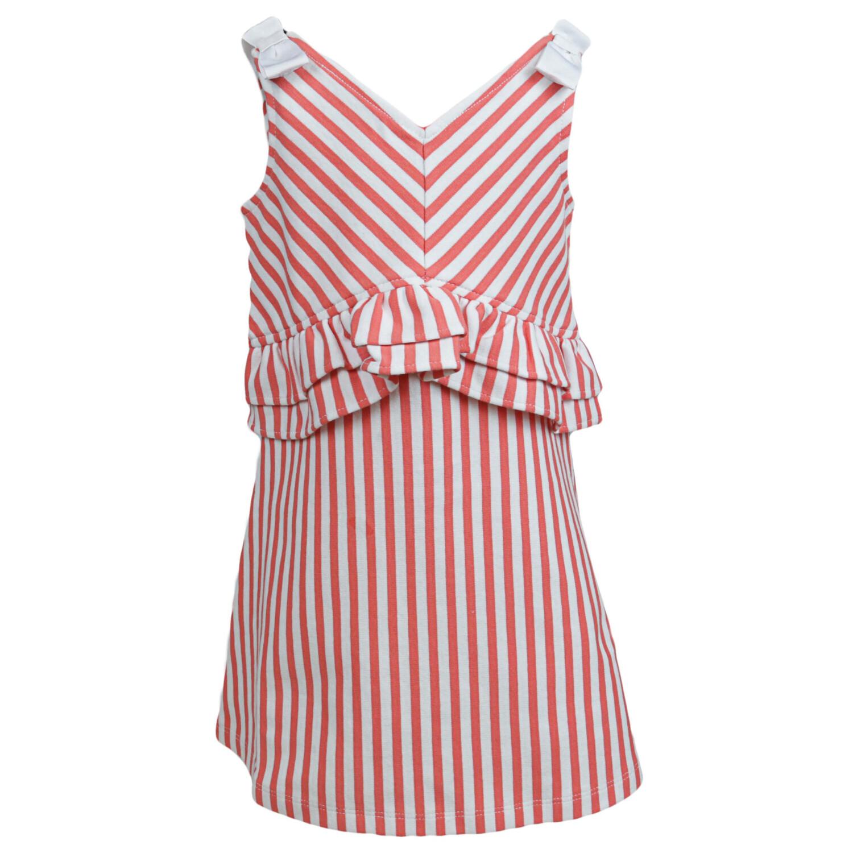 Janie And Jack White / Salmon Stripes Striped Peplum Ponte Dress Special Occasion - 12-18 Months