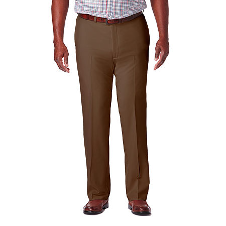 Haggar Cool 18 Pro Flat Front Pant- Big & Tall, 56 32, Brown