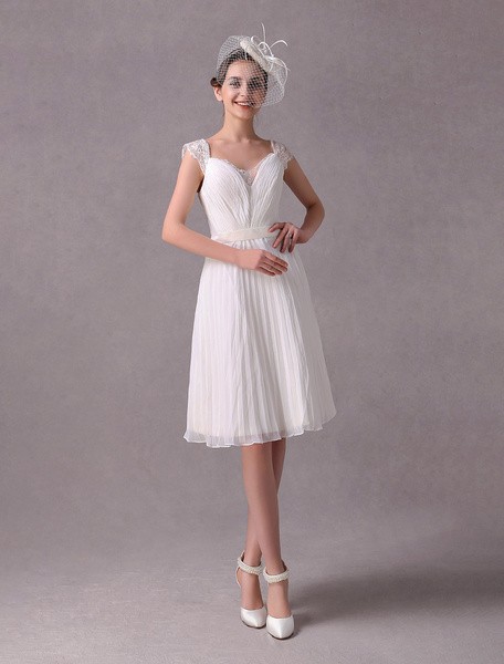 Milanoo Simple Wedding Dress Vintage Short Bridal Dress Ivory Pleated Chiffon Sash Lace Knee Length Bridal Reception Dress