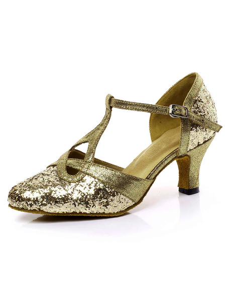 Milanoo Latin Dance Sandals Glitter Pointed Toe T Type Ballroom Shoes Gold 1920s Flapper Shoes