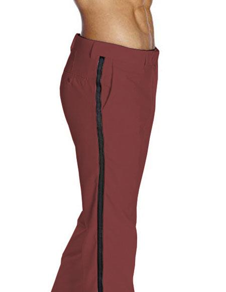 Men's Flat Front Satin BClassic Fit Burgundy Tuxedo Pant