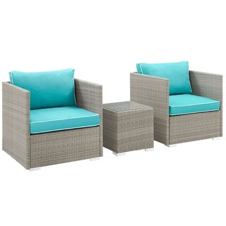 Repose 3 Piece Outdoor Patio Sectional Set (light gray turquoise)