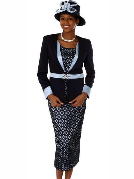 Womens Long Sleeve 3 Pcs Navy Suit