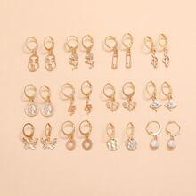 12pairs Figure & Flower Drop Earrings