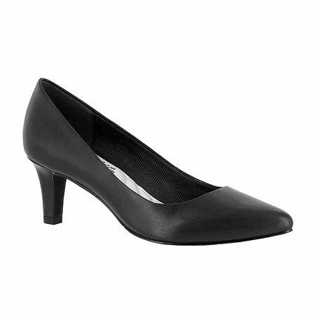 Easy Street Womens Pointe Pumps Spike Heel, 11 Wide, Black